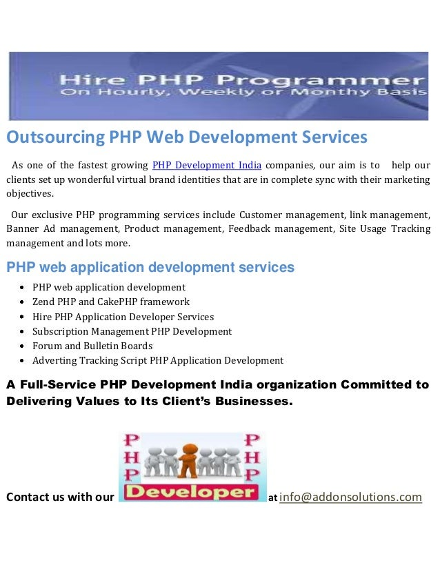 Outsourcing php web development services