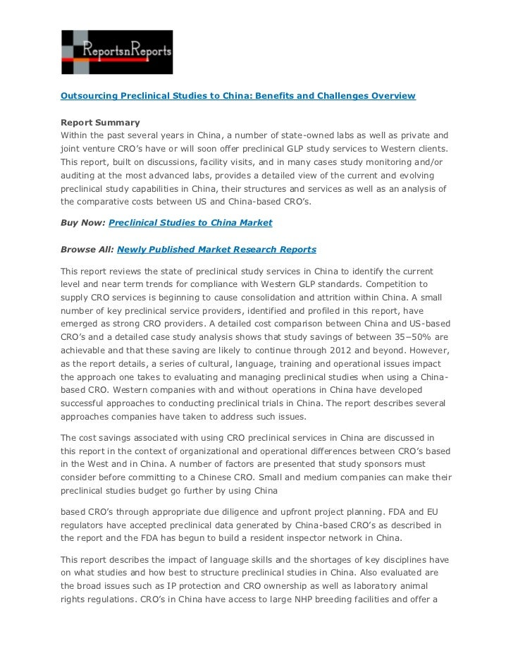 Outsourcing Preclinical Studies to China: Benefits and Challenges OverviewReport SummaryWithin the past several years in C...