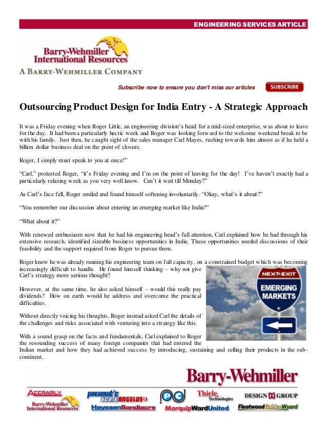 ENGINEERING SERVICES ARTICLESubscribe now to ensure you dont miss our articlesOutsourcing Product Design for India Entry -...