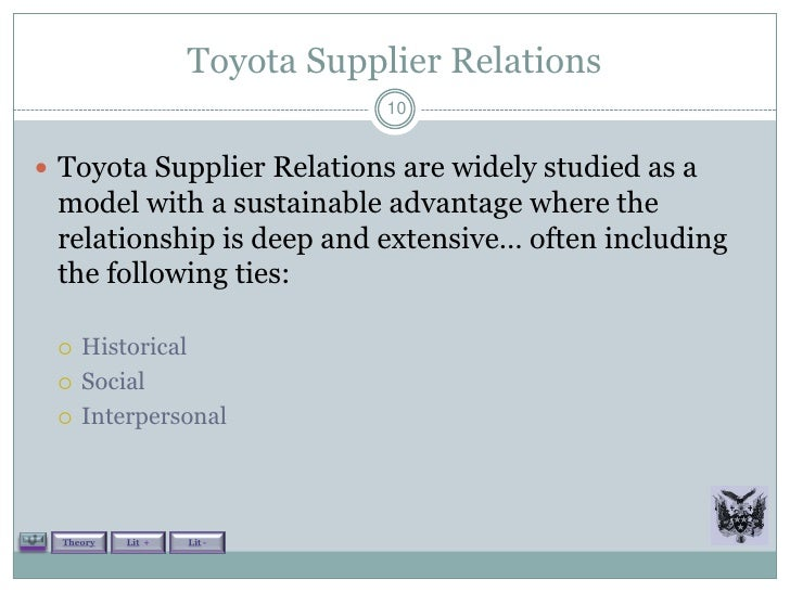 toyota outsourcing Toyota and boeing offer starkly contrasting pictures of the benefits and liabilities of outsourcing boeing's overemphasis on short-term cost savings led to longer-term cost hemorrhaging.