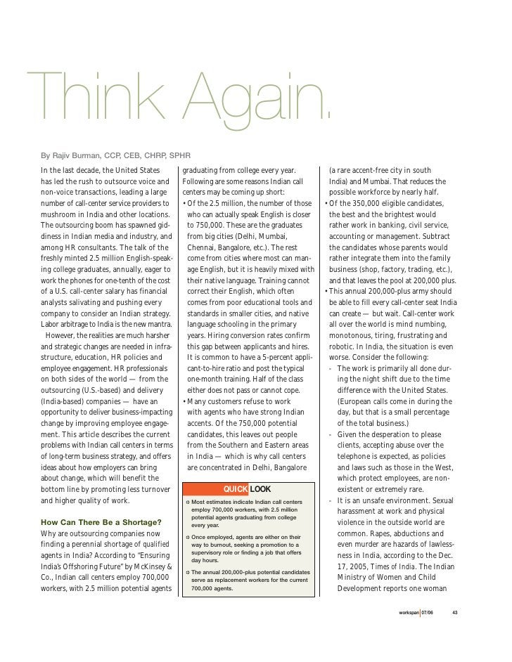 Think Again.By Rajiv Burman, CCP, CEB, CHRP, SPHRIn the last decade, the United States         graduating from college eve...
