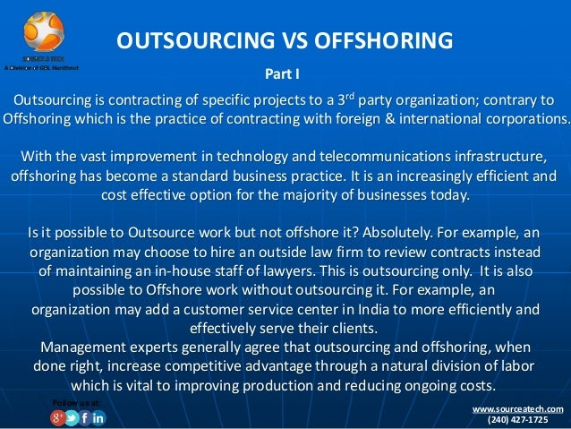 outsourcing and offshoring Visit aperian global to discover the many approaches to outsourcing & offshoring processes that are considered the core of business globalization strategy.