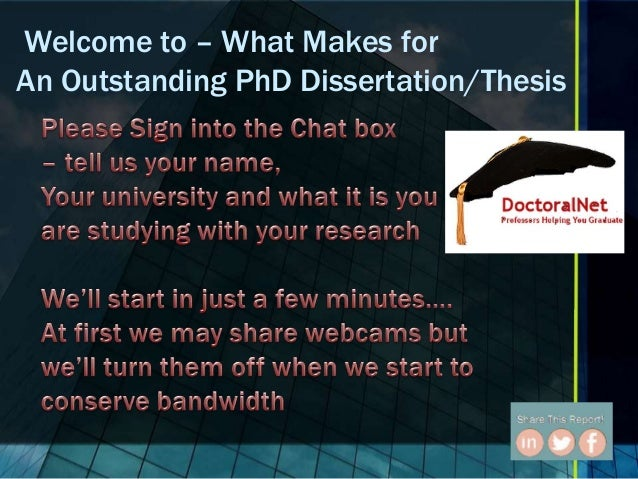 Welcome to – What Makes for An Outstanding PhD Dissertation/Thesis
