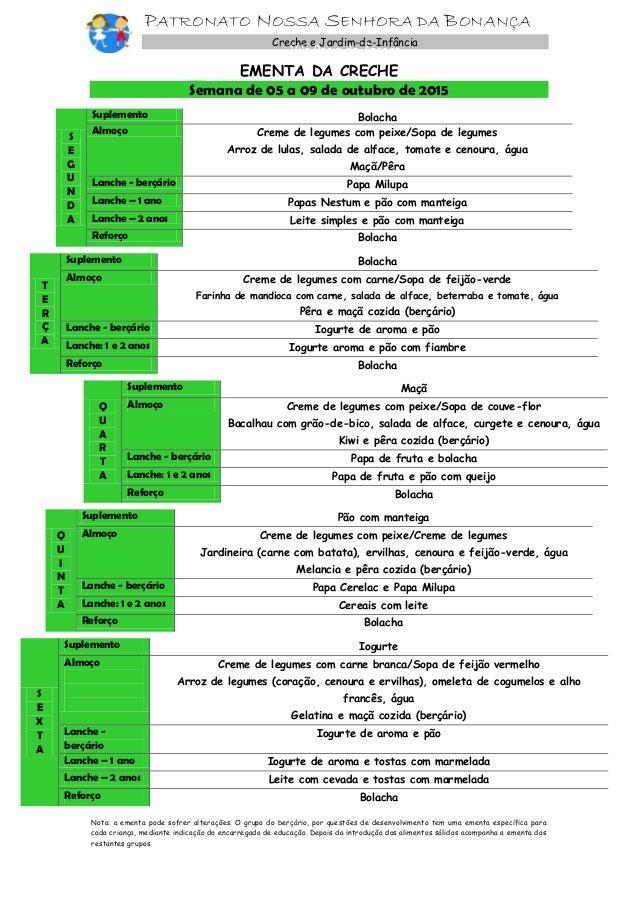 PATRONATO NOSSA SENHORA DA BONANÇA Creche e Jardim-de-Infância Vila Praia de Âncora EMENTA DA CRECHE Semana de 05 a 09 de ...