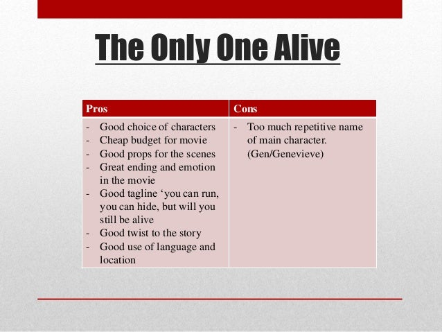 ... 3. The Only One Alive Pros Cons ...