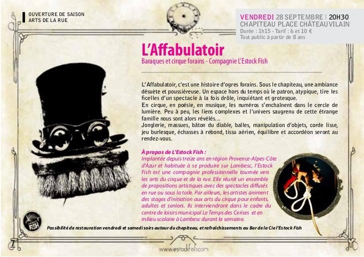 OUVERTURE DE SAISON    ARTS DE LA RUE                                                                                     ...
