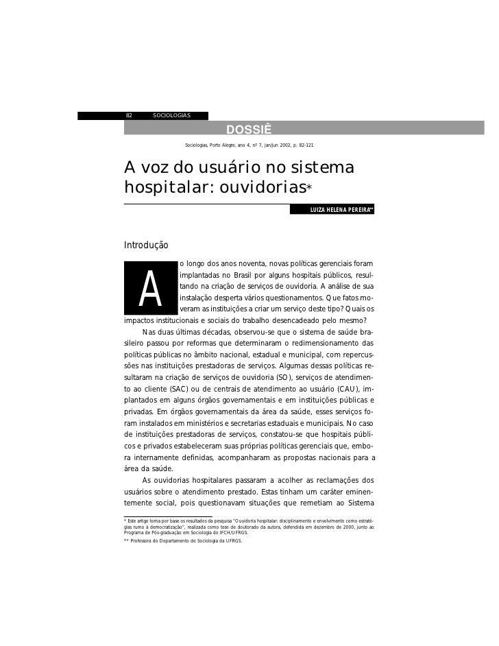 82           SOCIOLOGIAS                                                    DOSSIÊ                              Sociologia...