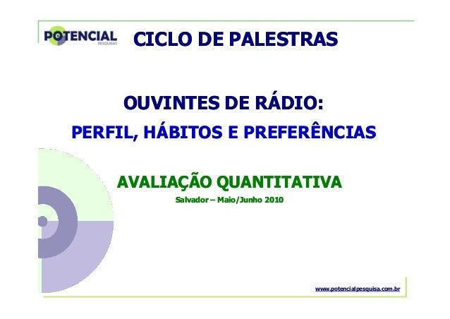 OUVINTES DE RÁDIO – Salvador – Maio/Junho 2010 OUVINTES DE RÁDIO:OUVINTES DE RÁDIO: AVALIAÇÃOAVALIAÇÃO QUANTITATIVAQUANTIT...