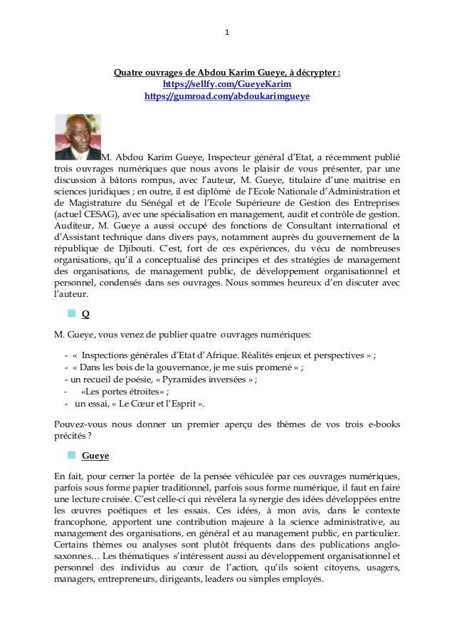 1 Quatre ouvrages de Abdou Karim Gueye, à décrypter : https://sellfy.com/GueyeKarim https://gumroad.com/abdoukarimgueye M....