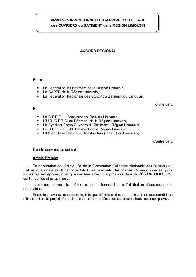 PRIMES CONVENTIONNELLES et PRIME d'OUTILLAGE des OUVRIERS du BATIMENT de la REGION LIMOUSIN ACCORD REGIONAL _________ Entr...