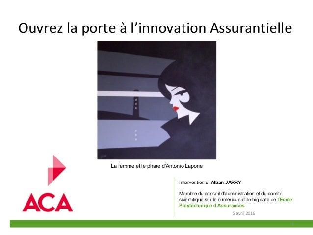 Ouvrez la porte à l'innovation Assurantielle 1 Intervention d' Alban JARRY Membre du conseil d'administration et du comité...
