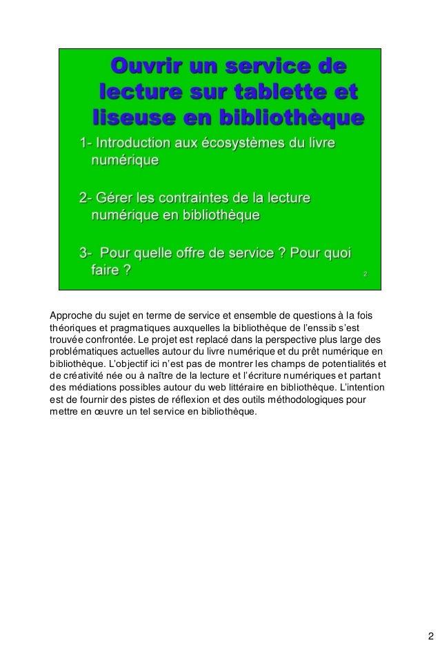 Ouvrir un service de lecture sur tablettes et liseuses en bibliothèque Slide 2