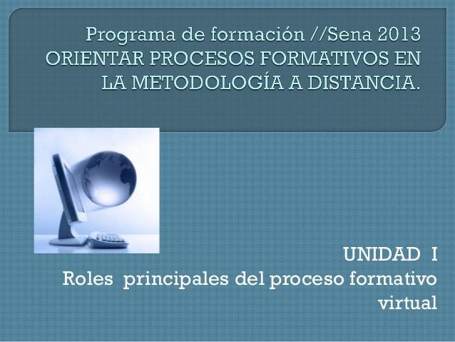 UNIDAD I Roles principales del proceso formativo virtual