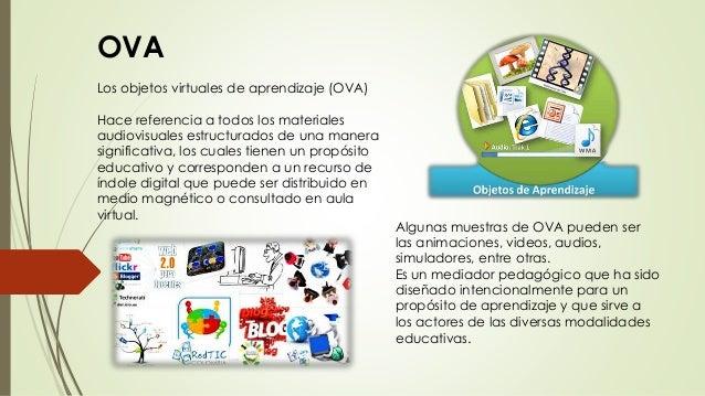 OVA Los objetos virtuales de aprendizaje (OVA) Hace referencia a todos los materiales audiovisuales estructurados de una m...