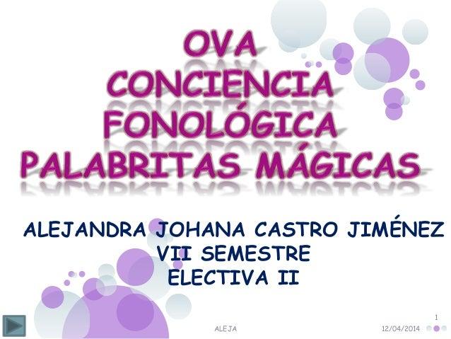12/04/2014ALEJA 1 ALEJANDRA JOHANA CASTRO JIMÉNEZ VII SEMESTRE ELECTIVA II