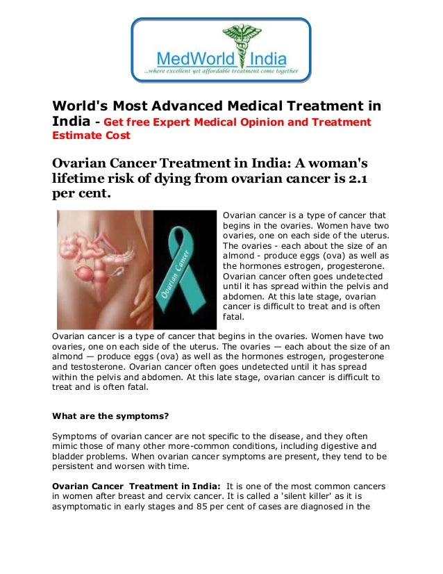Ovarian Cancer Treatment In India A Woman S Lifetime Risk Of Dying F