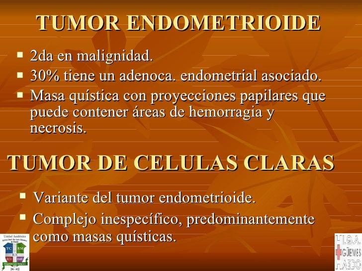 TUMOR ENDOMETRIOIDE <ul><li>2da en malignidad.  </li></ul><ul><li>30% tiene un adenoca. endometrial asociado. </li></ul><u...
