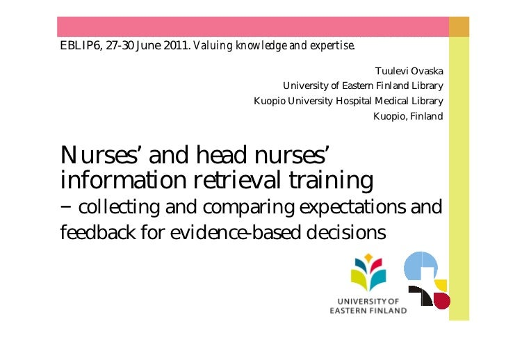 EBLIP6, 27-30 June 2011. Valuing knowledge and expertise.                                                                T...