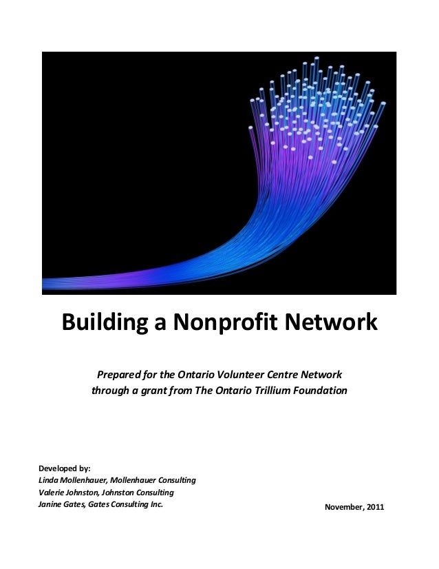 Building a Nonprofit NetworkPrepared for the Ontario Volunteer Centre Networkthrough a grant from The Ontario Trillium Fou...