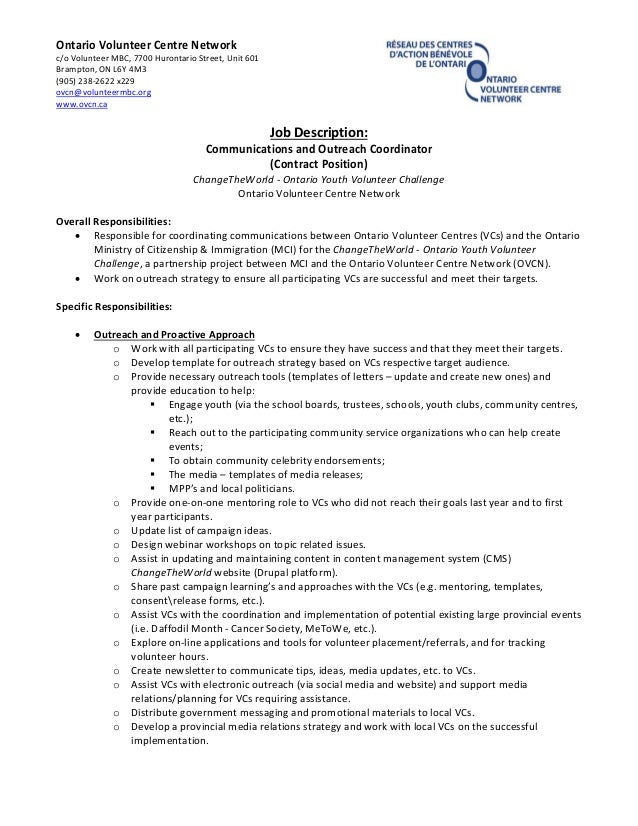 ovcn ctw communications  u0026 outreach coordinator role 2013
