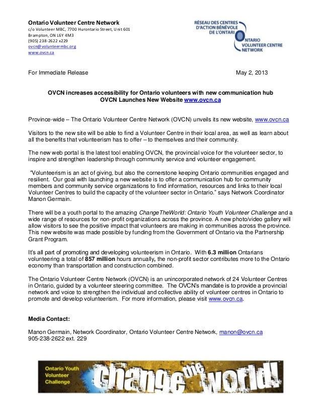 Ontario Volunteer Centre Networkc/o Volunteer MBC, 7700 Hurontario Street, Unit 601Brampton, ON L6Y 4M3(905) 238-2622 x229...