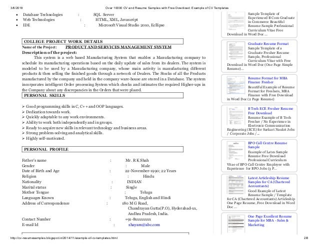 Over 10000 Cv And Resume Samples With Free Download Example Of Cv Te