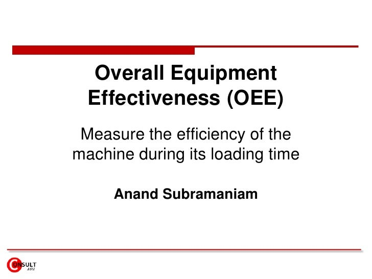 Overall Equipment Effectiveness (OEE)<br />Measure the efficiency of the machine during its loading time<br />Anand Subram...