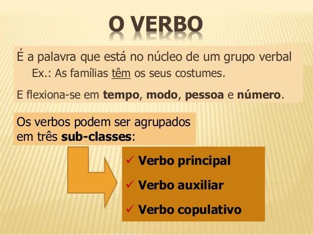 O VERBO  É a palavra que está no núcleo de um grupo verbal  Ex.: As famílias têm os seus costumes.  E flexiona-se em tempo...