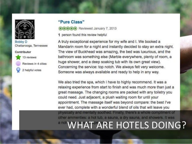 WHAT ARE HOTELS DOING?                    21