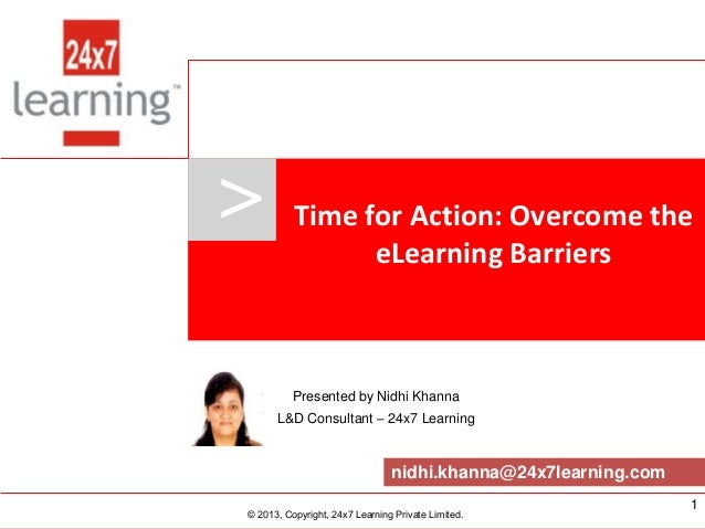 >               Time for Action: Overcome the                                             eLearning Barriers              ...