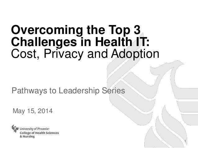 Overcoming the Top 3 Challenges in Health IT: Cost, Privacy and Adoption Pathways to Leadership Series May 15, 2014 1