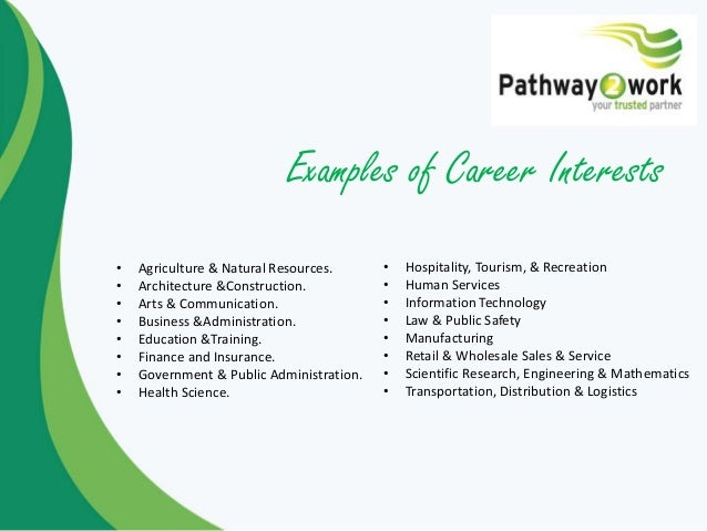 career interests examples selo l ink co