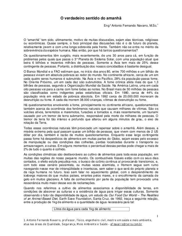"""O verdadeiro sentido do amanhã Eng° Antonio Fernando Navarro, M.Sc.1  O """"amanhã"""" tem sido, ultimamente, motivo de muitas d..."""