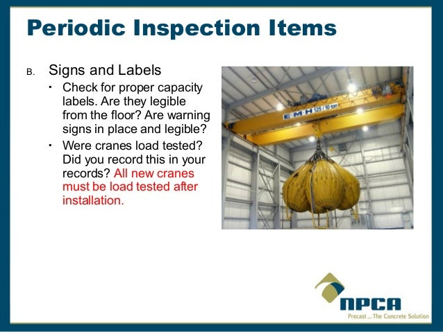 Overhead Crane Safety Points : Overhead crane safety and inspection requirements by npca