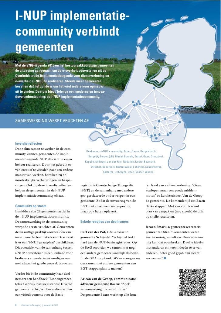 I-NUP implementatie-community verbindtgemeentenMet de VNG-@genda 2015 en het bestuursakkoord zijn gemeentende uitdaging aa...