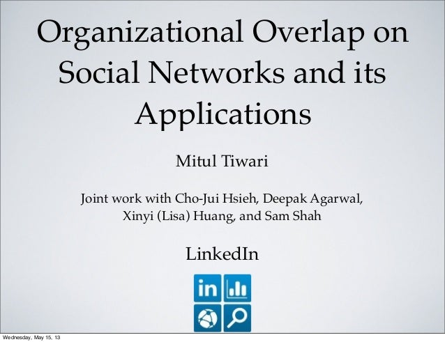 Organizational Overlap onSocial Networks and itsApplicationsMitul TiwariJoint work with Cho-Jui Hsieh, Deepak Agarwal,Xiny...