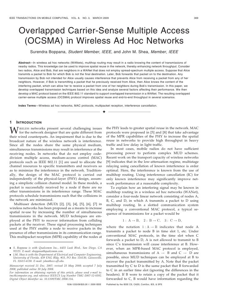 IEEE TRANSACTIONS ON MOBILE COMPUTING,             VOL. 8,   NO. 3,   MARCH 2009                                          ...