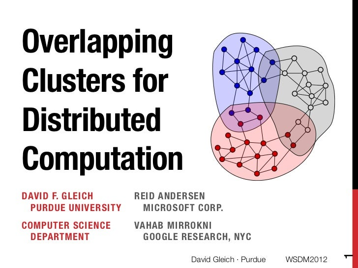 "OverlappingClusters forDistributedComputationDAVID F. GLEICH ""     REID ANDERSEN "" PURDUE UNIVERSITY     MICROSOFT CORP.CO..."