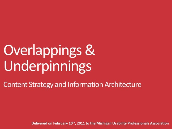 Overlappings and Underpinnings - Content Strategy and Information Architecture