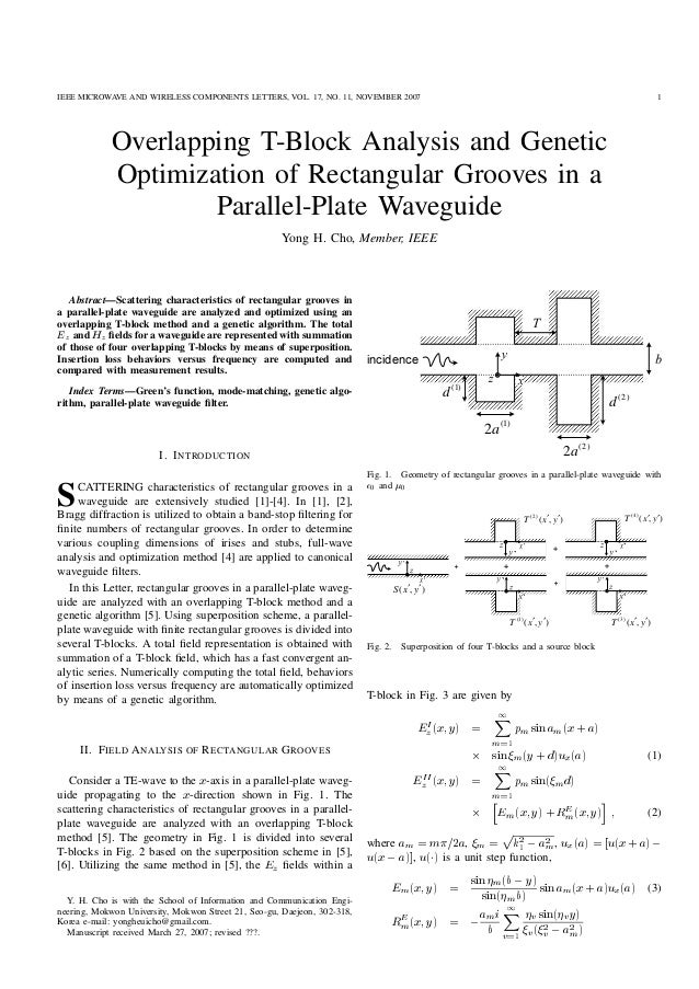 IEEE MICROWAVE AND WIRELESS COMPONENTS LETTERS, VOL. 17, NO. 11, NOVEMBER 2007 1 Overlapping T-Block Analysis and Genetic ...