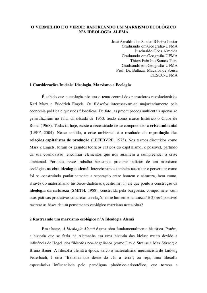O VERMELHO E O VERDE: RASTREANDO UM MARXISMO ECOLÓGICO                  N'A IDEOLOGIA ALEMÃ                               ...