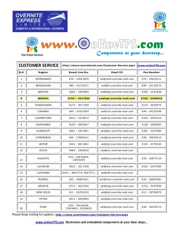 CUSTOMER SERVICE http://www.overnitenet.com/Customer-Service.aspx www.onlineTPS.com SL# Region Board Line No. Email ID Fax...