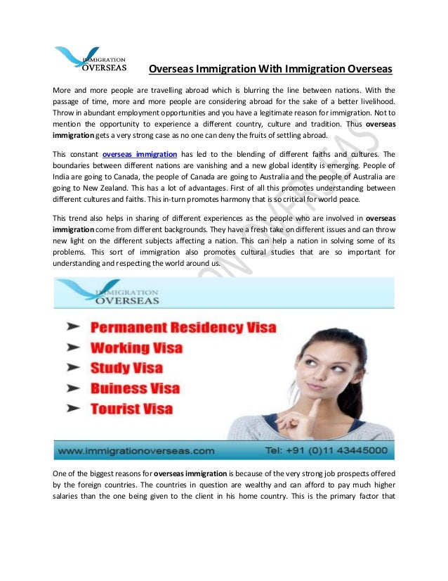 Overseas Immigration With Immigration Overseas More and more people are travelling abroad which is blurring the line betwe...