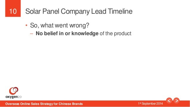 10  Solar Panel Company Lead Timeline  • So, what went wrong?  – No belief in or knowledge of the product  Overseas Online...