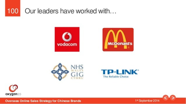 100  Our leaders have worked with…  Overseas Online Sales Strategy for Chinese Brands 1st September 2014