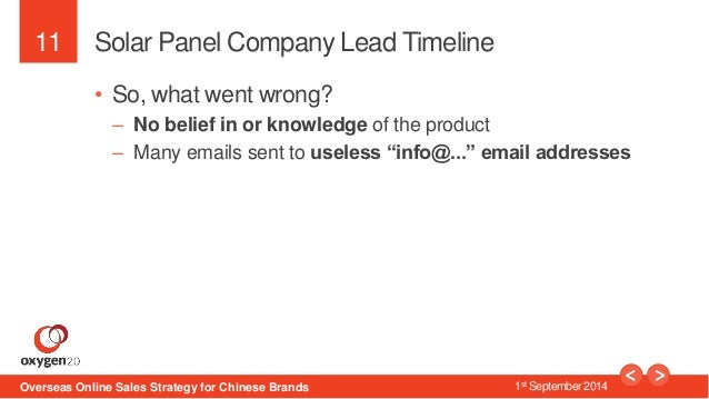 11  Solar Panel Company Lead Timeline  • So, what went wrong?  – No belief in or knowledge of the product  – Many emails s...
