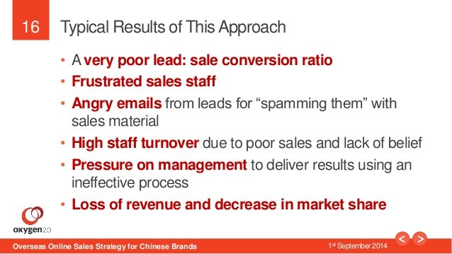 16  Typical Results of This Approach  • A very poor lead: sale conversion ratio  • Frustrated sales staff  • Angry emails ...