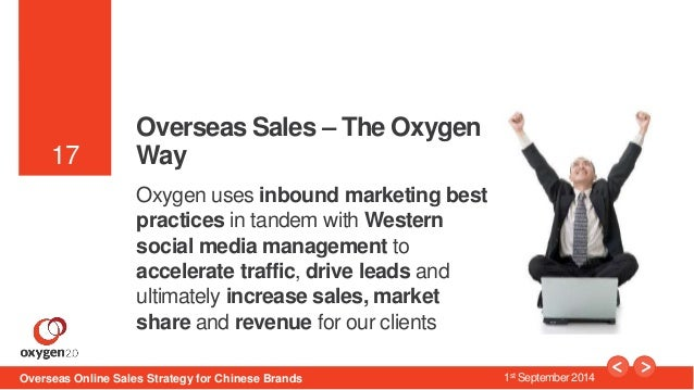 17  17  Overseas Sales – The Oxygen  Way  Oxygen uses inbound marketing best  practices in tandem with Western  social med...