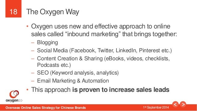 """18  The Oxygen Way  • Oxygen uses new and effective approach to online  sales called """"inbound marketing"""" that brings toget..."""