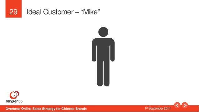 """29  Ideal Customer – """"Mike""""  Overseas Online Sales Strategy for Chinese Brands 1st September 2014"""